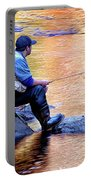 Trout Fisherman In Autumn Portable Battery Charger