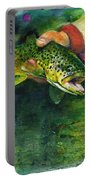 Trout In Hand Portable Battery Charger by John D Benson