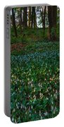 Trout Lilies On Forest Floor Portable Battery Charger by Steve Gadomski