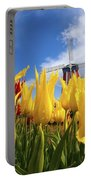 Tulips In A Field And A Windmill At Portable Battery Charger