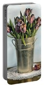 Tulips In Metal Vase Portable Battery Charger