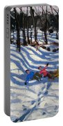 Two Boys Falling Off A Sledge Portable Battery Charger by Andrew Macara