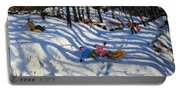 Two Boys Falling Off A Sledge Portable Battery Charger