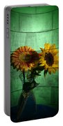 Two Flowers On Texture Portable Battery Charger