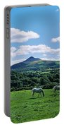 Two Horses Grazing In A Field Portable Battery Charger