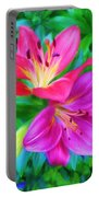 Two Lily Flowers Portable Battery Charger