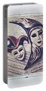 Two Masks On Sheet Music Portable Battery Charger