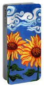 Two Sunflowers Portable Battery Charger by Genevieve Esson