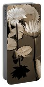 Two Waterlilies Sepia Portable Battery Charger