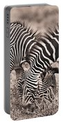 Two Zebras Grazing Together Kenya Portable Battery Charger