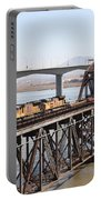 Union Pacific Locomotive Trains Riding Atop The Old Benicia-martinez Train Bridge . 5d18850 Portable Battery Charger