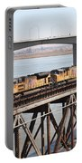 Union Pacific Locomotive Trains Riding Atop The Old Benicia-martinez Train Bridge . 5d18851 Portable Battery Charger