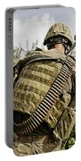 U.s. Army Mk48 Machine Gunner Patrols Portable Battery Charger