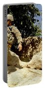 U.s. Army Soldier Climbs Down A Hill Portable Battery Charger