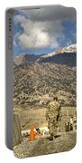 U.s. Army Soldier Walks Down A Path Portable Battery Charger by Stocktrek Images