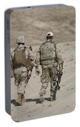 U.s. Marine And German Soldier Walk Portable Battery Charger