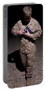 U.s. Marine Holding The American Flag Portable Battery Charger