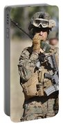 U.s. Marine Radios His Units Movements Portable Battery Charger by Stocktrek Images
