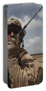 U.s. Marine Uses A Radio In Djibouti Portable Battery Charger by Stocktrek Images