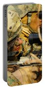 U.s. Marine Uses A Spotting Scope Portable Battery Charger