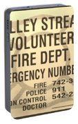 Vallet Stream Fire Department In Sepia Portable Battery Charger