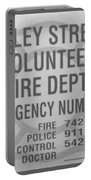 Valley Stream Fire Department In Black And White Portable Battery Charger