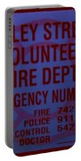 Valley Stream Fire Department In Blue Portable Battery Charger by Rob Hans