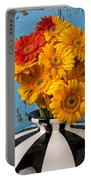 Vase With Gerbera Daisies  Portable Battery Charger