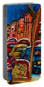 Verdun Rowhouses With Hockey - Paintings Of Verdun Montreal Street Scenes In Winter Portable Battery Charger