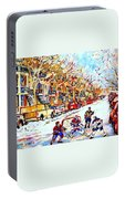Verdun Street Hockey Game Goalie Makes The Save Classic Montreal Winter Scene Portable Battery Charger