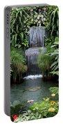 Victorian Garden Waterfall - Digital Art Portable Battery Charger