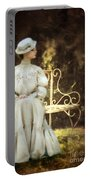Victorian Lady On Garden Bench Portable Battery Charger