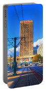 View Of Downtown Buffalo From The Tracks Portable Battery Charger