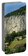 View Of Greenery And Waterfalls On A Swiss Cliff Portable Battery Charger