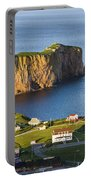 Village And Perce Rock At Sunset Portable Battery Charger