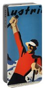 Vintage Austrian Skiing Travel Poster Portable Battery Charger