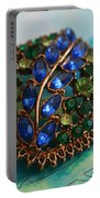 Vintage Blue And Green Rhinestone Brooch On Watercolor Portable Battery Charger