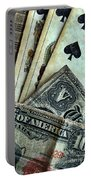 Vintage Playing Cards And Cash Portable Battery Charger