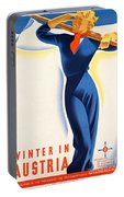 Vintage Winter In Austria Travel Poster Portable Battery Charger