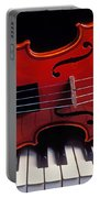 Violin On Piano Keys Portable Battery Charger by Garry Gay