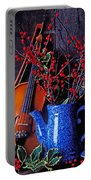 Violin With Blue Pot Portable Battery Charger