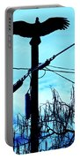 Vulture On Phone Pole Portable Battery Charger