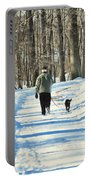 Walking The Dog Portable Battery Charger by Paul Ward