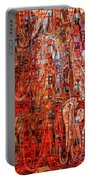 Warm Meets Cool - Abstract Art Portable Battery Charger by Carol Groenen