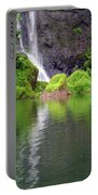 Waterfall Reflection In Tahiti Portable Battery Charger