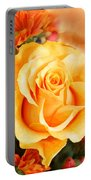 Water Color Yellow Rose With Orange Flower Accents Portable Battery Charger