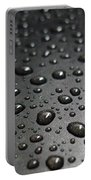 Water Drops On Black Metalica. Business Card. Invitation. Sympathy Note. Portable Battery Charger