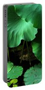 Water Lilies Of Green Portable Battery Charger