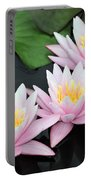 water lily 88 Sunny Pink Water Lily with Reflection Portable Battery Charger