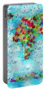 Watercolor Splashes World Map Portable Battery Charger